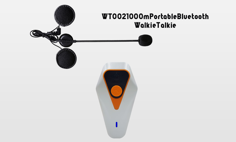 WT002 1000m Portable Bluetooth Walkie Talkie for Motorcycle Helmet