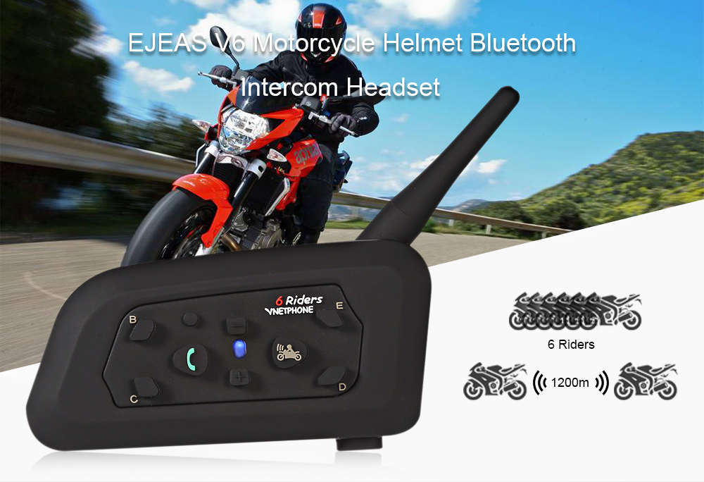VNETPHONE V6 Motorcycle Helmet Full-duplex Bluetooth Intercom Headset