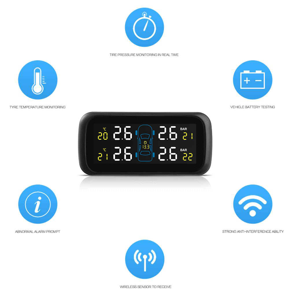 Pershn U903 TPMS Tire Pressure Monitoring System with Four External Sensors